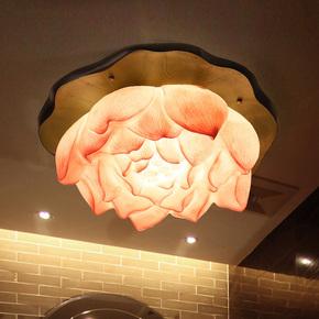 比月灯饰新中式家装仿古客厅创意茶楼餐厅艺术灯具荷花吸顶灯6368