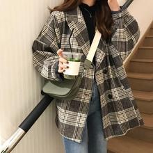 韩国秋冬季复古宽松西装翻领长袖单排扣格子毛呢外套学生呢子大衣