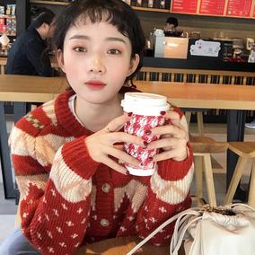 韩国冬季复古百搭宽松圆领单排扣圣诞图案保暖加厚针织衫毛衣外套