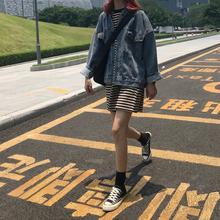 韩版秋装复古宽松翻领蝙蝠长袖水洗做旧口袋牛仔外套学生显瘦上衣