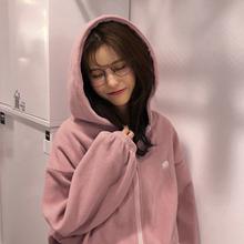 韩国秋季新款学院风刺绣熊纯色长袖保暖拉链外套连帽绒衫卫衣女装