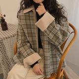 韩系chic风早春新款简约宽松显瘦格子单排扣polo毛呢外套女装上衣