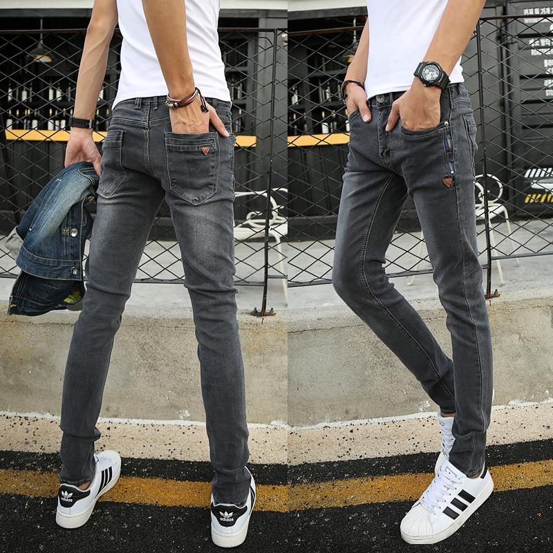 深灰色弹力牛仔裤