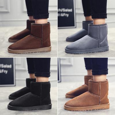 高帮雪地靴男冬季保暖加绒短靴棉靴情侣马丁靴子2018新款高邦棉鞋