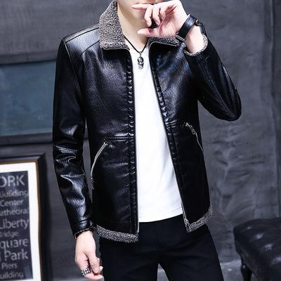 皮衣男秋冬季时尚毛领加绒夹克帅气男装修身韩版青年男士外套加厚