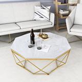 北欧大理石茶几小户型简约现代客厅铁艺桌圆形样板间家具创意轻奢