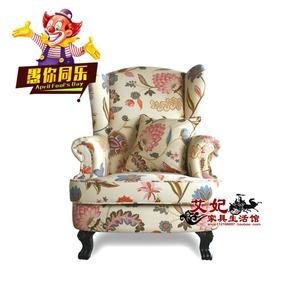 新古典布艺单人沙发莲花布休闲舒适奢华咖啡厅美乡村法欧式形象椅
