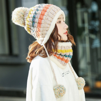Hat woman Autumn Winter Korean edition Tide hundred Sweet cute lady knitted wool hat winter warm ear protectors new