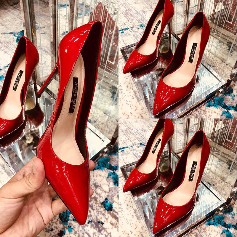 独女春秋新款网红百搭大红色浅口高跟鞋漆皮细跟单鞋女婚鞋新娘鞋