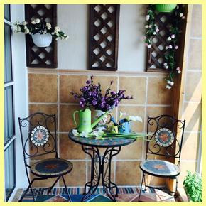 阳台休闲铁艺折叠奶茶店桌椅三件套 户外庭院桌椅组合咖啡厅茶几