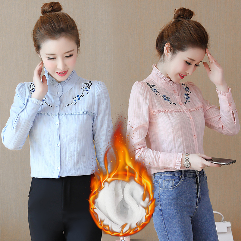 ladies warm shirt female long-sleeved plus velvet thickening bottoming shirt was thin autumn and winter sweet embroidery