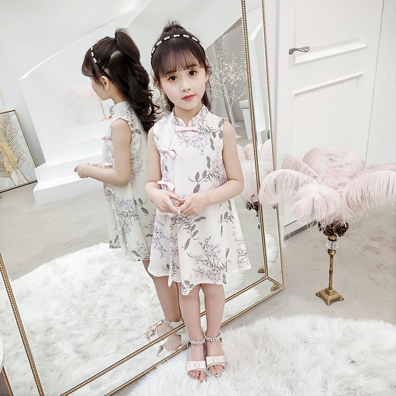 女童夏季新款无袖旗袍小女孩雪纺公主裙子中国风连衣裙儿童古装女