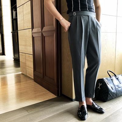 欧式高腰绅士舒适九分西裤男士夏季透气青年百搭英伦休闲直筒裤潮