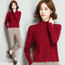 Half-high collar sweater women's winter Korean version of the red short sweater female 2018 new inside thick women's bottoming sweater