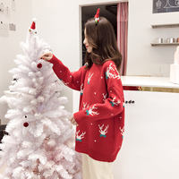 Red Christmas lazy wind loose very fairy foreign semi-high collar sweater set head female thickening new 2018 autumn and winter