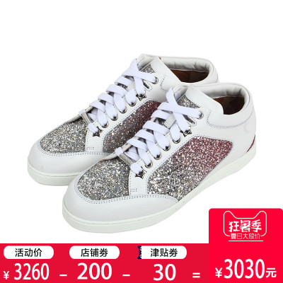 正品Jimmy Choo/周仰杰女鞋 牛皮新款系带板鞋 亮片女士休闲鞋SS