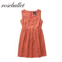 rosebullet2018年秋季新款时尚休闲可爱背心无袖露肩百褶连衣裙女