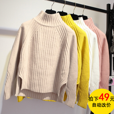 秋冬季新款韩版半高领针织衫女套头宽松纯色开叉学生加厚短款毛衣