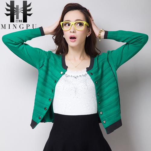 女款秋冬新款韩版双排扣针织衫薄款开衫女宽松显瘦短外套披肩女装