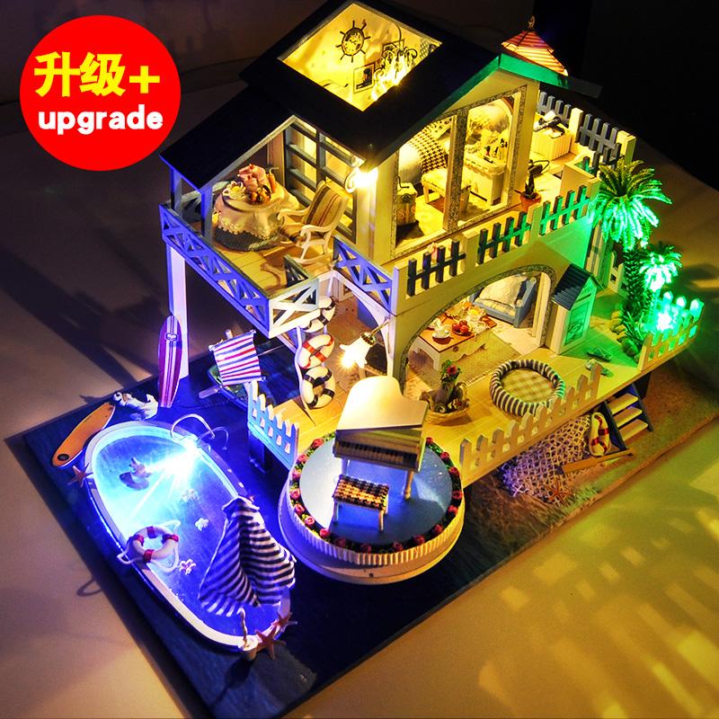 天予diy小屋蓝色旋律手工制作房子模型拼装别墅玩具创意生日礼物1元优惠券