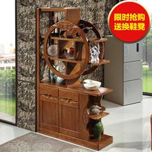 中式实木玄关柜客厅隔断柜鞋柜门厅间厅柜酒柜双面入门屏风装饰柜