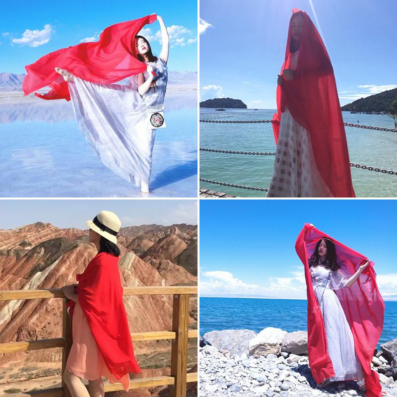披肩大红纯色围巾