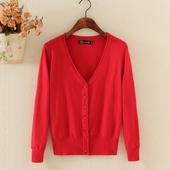 春夏秋季薄款针织衫女开衫长袖V领外搭短款毛衣小披肩外套空调衫
