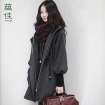 呢子大衣女中长款韩版加大码女装秋冬赫本风连帽厚绵羊绒毛呢外套