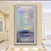 饰画现代中式客厅风景挂画走廊山水画过道壁画 油画手绘欧式玄关装