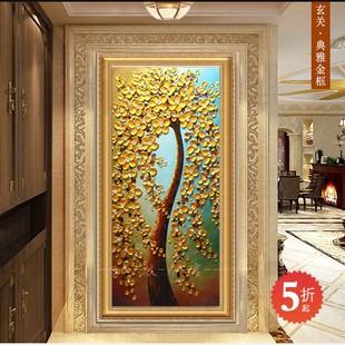 欧式客厅装 饰画玄关手绘油画走廊过道竖版抽象壁画发财树挂画 新款