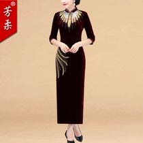 秋冬喜婆婆婚宴妈妈装修身显瘦丝绒长款钉珠复古改良旗袍端庄大气