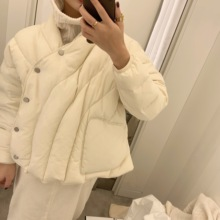 XTT must be included in the design of Japanese-style white duck down slanting button loose short down down jacket winter bread jacket