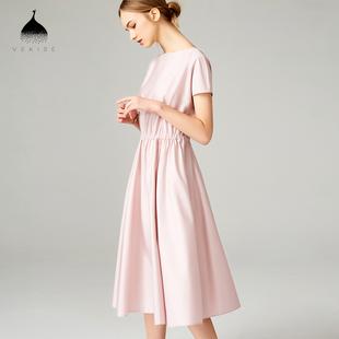 粉色连衣裙女夏2018新款纯色纯棉短袖气质淑女收腰优雅中长款裙子
