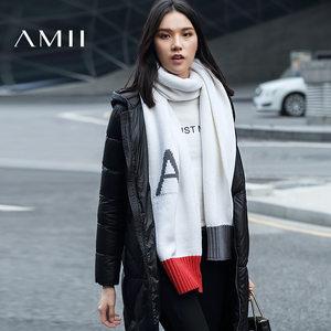 【预售】Amii2019冬百搭字母撞色针织腈棉混纺保暖围巾11684177