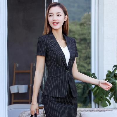 2018新款酒店工作服套装女短袖气质显瘦大堂经理餐厅主管前台夏装