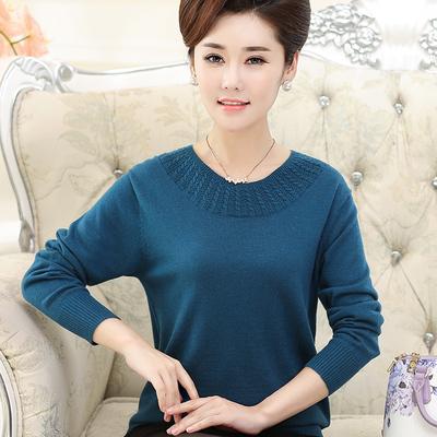 中年女装春装2018新款潮妈妈装打底衫女 长袖40-50岁宽松毛衣上衣