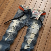 原宿风大码男装个性日系做旧复古破洞牛仔裤男士直筒宽松网红同款