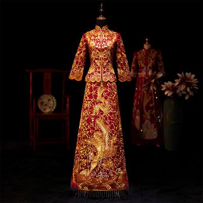 新娘秀禾服2019新款结婚中式红色古装敬酒服婚礼出阁服修身龙凤褂