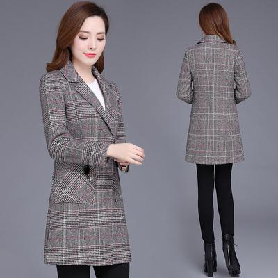 呢子风衣女中长款秋冬季2018新款韩版修身显瘦千鸟格毛呢大衣外套