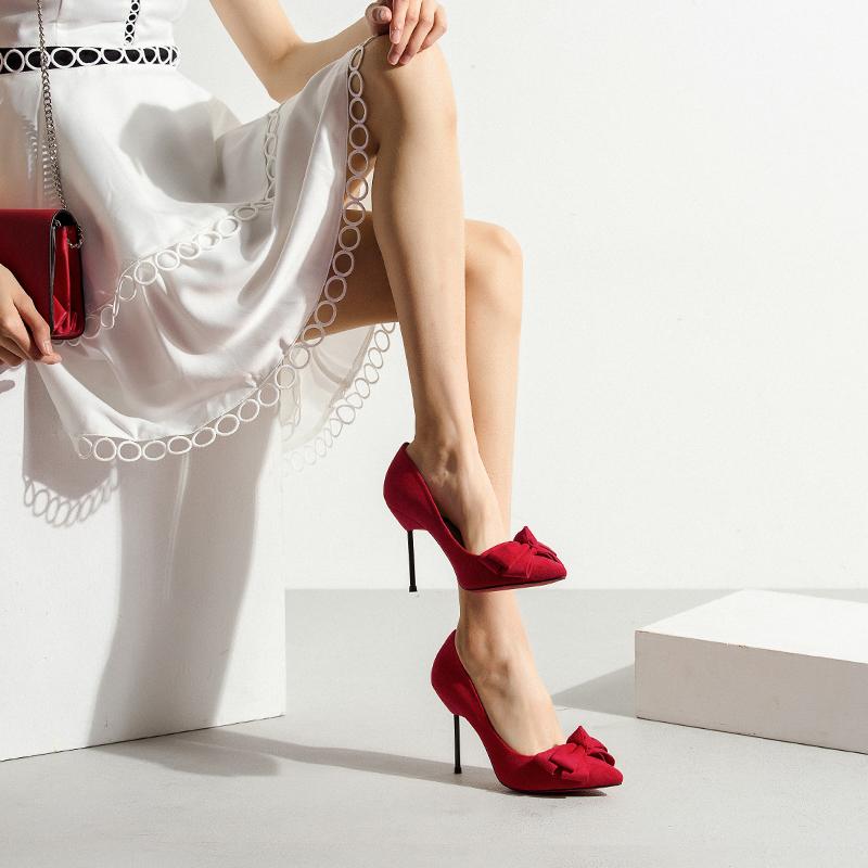 红色蝴蝶结单鞋