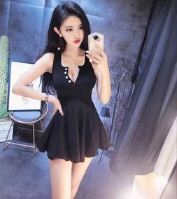 2019夏装新款夜店女装性感低胸V领气质收腰显瘦无袖连衣裙女