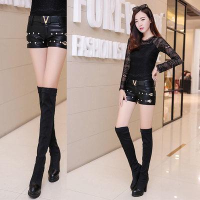 2018冬季新款韩版靴裤镶钻显瘦短裤女式PU皮超短裤显瘦性感女裤子