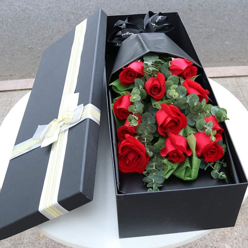 适配临汾鲜花速递同城红香槟玫瑰花束生日礼盒送女友尧都区表白送
