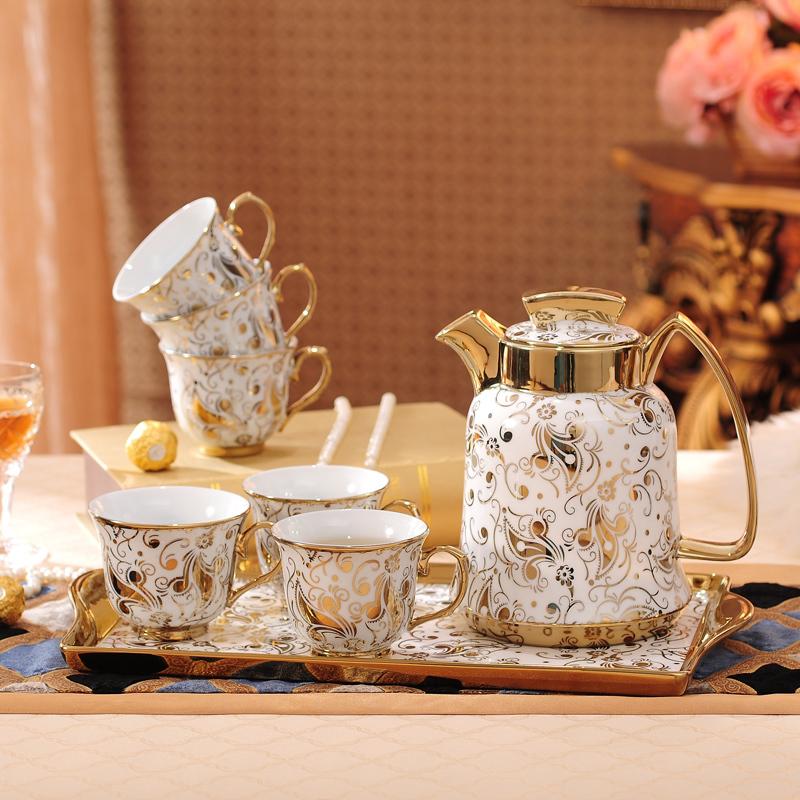 欧式陶瓷冷水壶创意凉水热水壶果汁壶简约骨瓷大容量家用水具套装