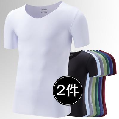 冰丝无痕短袖T恤男修身型V领薄款夏季青年运动速干半袖体恤打底衫