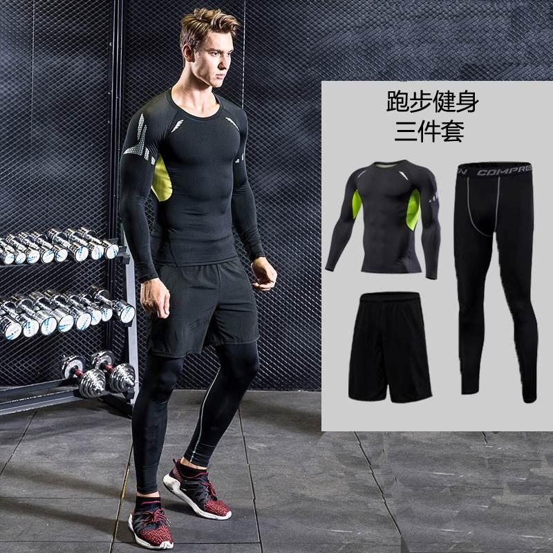 大码加肥专业运动套装男18新款胖220斤健身房宽松跑步速干衣