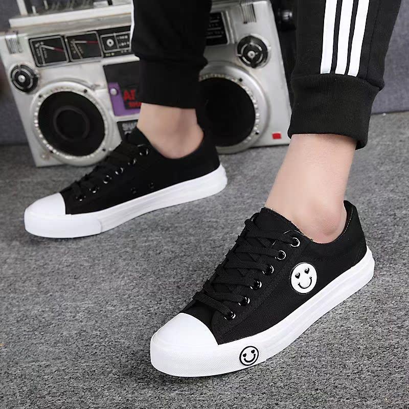 帆布鞋男学生春季小白鞋韩版透气青少年板鞋白黑色球鞋运动跑步鞋