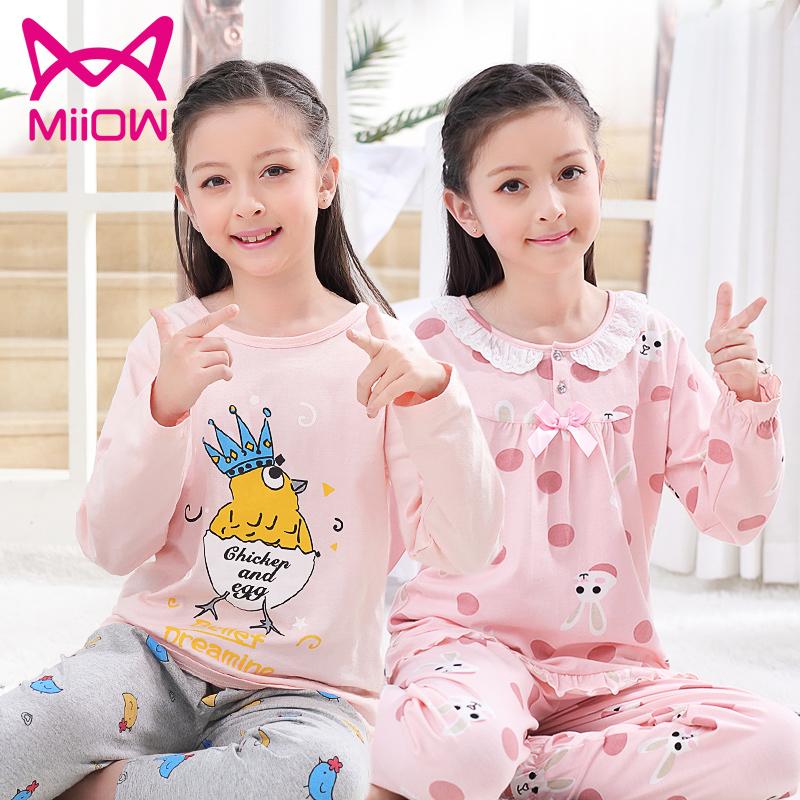 亲子家居服12-15长袖儿童猫人女童