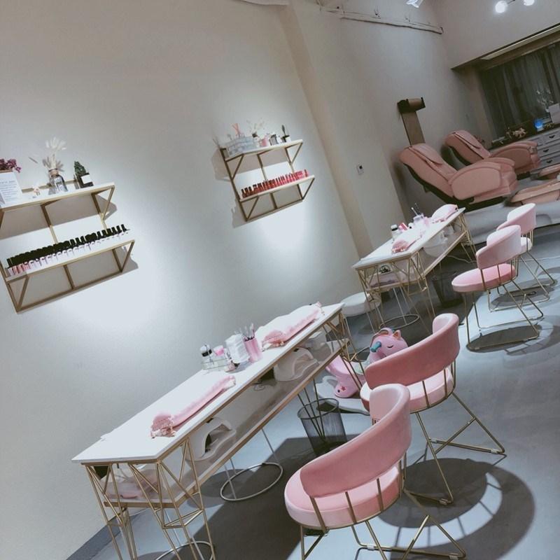 美式大理石美甲桌椅套装单双人双层修甲台简约现代金色餐桌椅