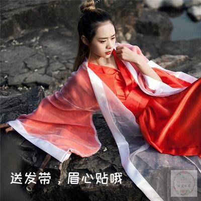 抖音cos紫霞仙子年会大红侠女装红色东方不败女古装汉服仙女服装